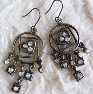 New Antique Brass Chandelier Heart Earrings